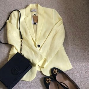 NWT MANGO 100% linen blazer in pale yellow color